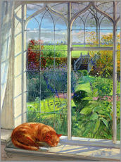 Wall sticker  Cat in the window in summer - Timothy Easton
