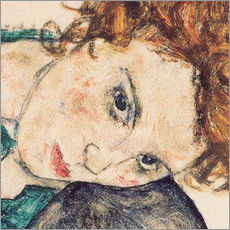 Wall sticker  Seated woman with bent knee, detail - Egon Schiele