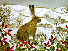 Wall sticker  Seated Hare in Snow - Vanessa Bowman