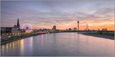 Gallery print  Dusseldorf Skyline at blazing red sunset - Michael Valjak