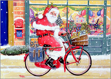 Wall sticker  Father Christmas on a Bicycle - Tony Todd