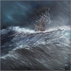 Wall sticker  HMS Beagle in a storm at Cape Horn, 1832 - Vincent Alexander Booth