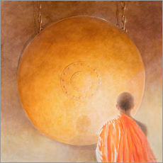 Gallery print  Young buddhist monk with a gong - Lincoln Seligman