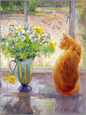 Gallery print  Cat with flowers in the window - Timothy Easton