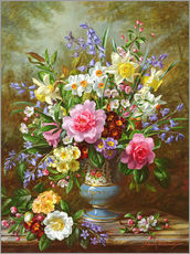 Gallery print  Bluebells, daffodils, primroses and peonies - Albert Williams