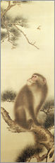 Gallery print  Monkey watching a dragonfly - Japanese School