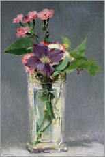 Wall Stickers  Pinks and Clematis in a Crystal Vase - Edouard Manet