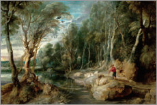 Aluminium print  A Shepherd with his Flock in a Woody landscape - Peter Paul Rubens