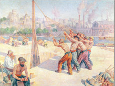Premium poster  Workers on the Quai de la Seine in Billancourt - Maximilien Luce