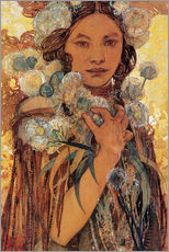 Wall sticker  Native American woman with flowers and feathers - Alfons Mucha