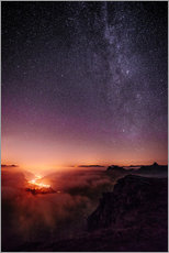 Wall sticker  Nightscape view from Leglerhütte over cloudscape by night, Glarus, Switzerland - Peter Wey