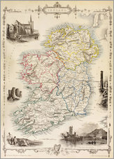 Gallery print  Map Of Ireland by Thomas Wright (18th century) - Ken Welsh