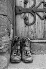 Gallery print  Worn boots before a door - John Short