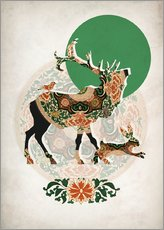 Wall sticker  Stag, bird and hare - Mandy Reinmuth