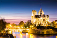 Gallery print  Notre Dame illuminated at night, Paris - Matteo Colombo