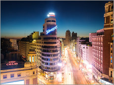 Wall Stickers  Gran Via shopping street and city of Madrid at night - Matteo Colombo