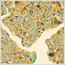 Gallery Print  Istanbul Map - Jazzberry Blue