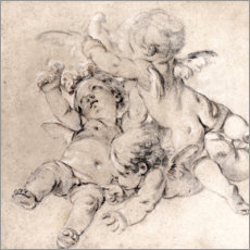 Wood print  Three putti fly with a dove - François Boucher