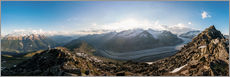 Gallery print  360 degree panorama from Bettmerhorn with Aletsch Glacier, Valais, Switzer - Peter Wey