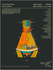 Wall sticker  Space Capsule Patent (1963) - Jazzberry Blue