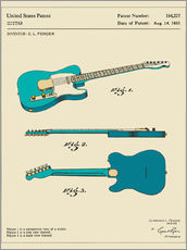 Wall sticker  Guitar Patent (1951) - Jazzberry Blue