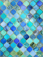 Wood print  Cobalt blue, gold moroccan tile pattern - Micklyn Le Feuvre