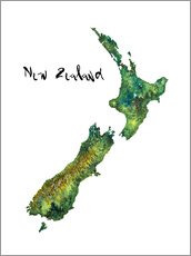 Gallery print  Map of New Zealand in watercolour - Ricardo Bouman