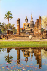 Wall Stickers  Wat Mahathat buddhist temple reflected in pond, Sukhothai, Thailand - Matteo Colombo