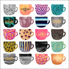 Wall sticker  Pretty coffee cups - Elisabeth Fredriksson