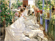 Canvas print  Sewing the sail - Joaquín Sorolla y Bastida