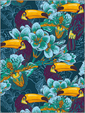 Gallery print  Tropical flowers with toucan