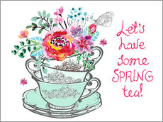 Wall sticker Let's have some spring tea