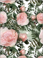 Wall sticker  Pink peonies textured