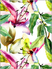 Wall sticker  Lilies in watercolor