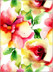 Gallery print  Watercolor painting with rose petals