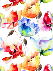 Gallery print  Poppies and tulips in watercolor