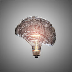 Gallery print  Conceptual light bulb brain illustrated - Johan Swanepoel