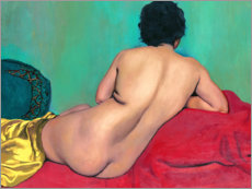 Premium poster Nude from behind on a red sofa
