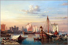 Wall sticker  Viking boats on the Thames. - Everhardus Koster