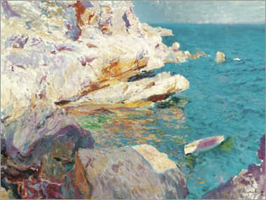 Premium poster  Rocks of Jávea and the white boat - Joaquín Sorolla y Bastida
