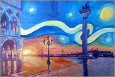 Wall sticker  Starry Night in Venice Italy San Marco with Lion - M. Bleichner