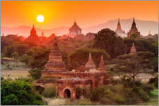 Wall sticker  Temples of Bagan at sunset