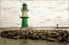 Gallery print  Green and red lighthouse at the harbor entrance of Warnemünde