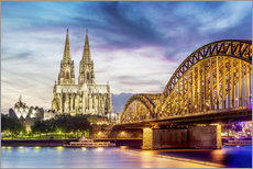 Wall Sticker  Lighted Cathedral in Cologne with Rhine and Bridge