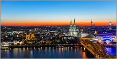 Gallery print  Colorful Cologne skyline at night