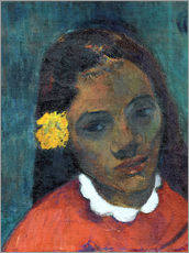 Gallery Print  Head of a Tahitian woman listening Flower - Paul Gauguin