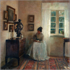 Aluminium print  Interior with reading woman - Carl Holsøe