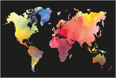 Wall Stickers  World map in water color