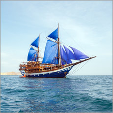 Gallery Print  Vintage Wooden Ship with Blue Sails