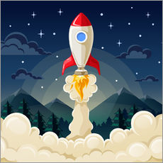 Wall sticker  Rocket take-off - Kidz Collection